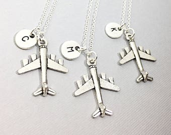 3 Custom airplane necklace, airplane charm, plane necklace, personalized, initial necklace, monogram, custom jewelry, aviation,airforce,gift