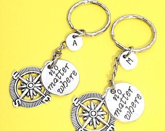 Custom Best Friend Keychains - set of 2, bff charm, no matter where bff, personalized, initial keychain, friendship jewelry, best friend 2