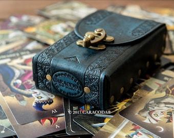 Tarot leather case, leather bag, tarot case, tarot pouch, cards box, tarot deck, card holder, tarot box, tooled leather veg tanned, tarot