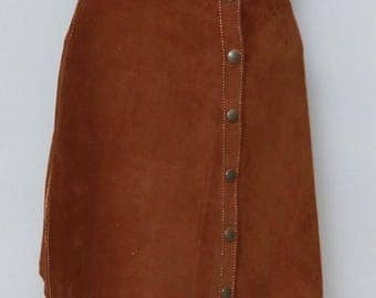 Vintage 1970's Amazing Brown Soft Suede Mini Skirt