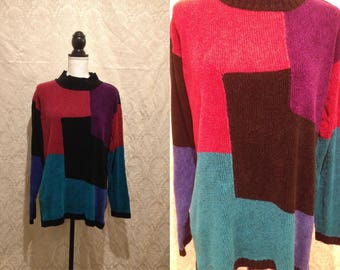 1990s Colorblock Velour Geometric Sweater Pullover Turtleneck Tunic Velvet Purple Blue Turquoise Red Artsy Grunge Fresh Prince Bel Air XL