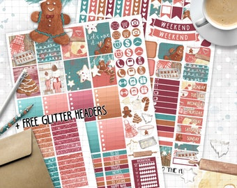 Christmas printable planner stickers for Erin Condren Life Planner TM classic christmas gingerbread cookies baking december weekly stickers