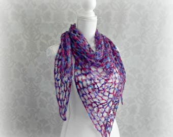 Lovers knot shawl, Crochet shawl, Triangle shawl, Solomons Knot shawl, Purple shawl, Ladies shawl, Mohair scarf, Women's shawl, Prayer shawl