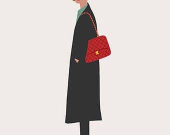 New Yorker, girl art print, illustration, plants, new york, fashion illustration, art print,