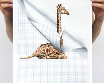 Giraffe Print, Giraffe poster, Giraffes in bathtub, Christmas Gift, Holiday Gift ,folded paper, square paper, Coco de Paris