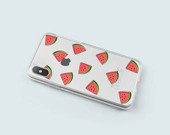iPhone X Case Watermelon, Soft iPhone 8 Case, iPhone 7 Case Clear with Design, iPhone 6 Case, iPhone SE Case Rubber Christmas Gift - KT073