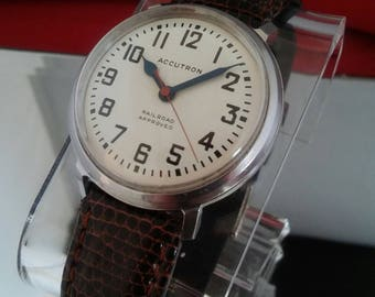 Accutron Railroad Watch by Bulova.Circa 1964.Just Serviced.214.Vintage.Original Dial.10% Off Sale.Free Insured Shipping!!