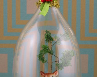 Handmade deer with tree cloche/diorama Christmas ornament.