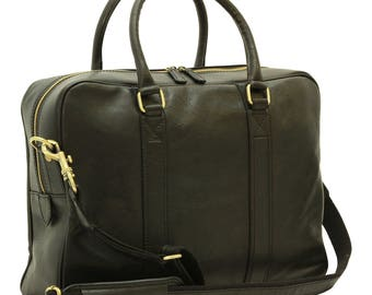 Leather Briefcase in Black made of Genuine Italian Leather - Leather Bag - Laptop Bag - Travel Bag - Mens Gift