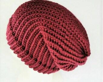 Chunky knit beanie, slouchy wool beanie, slouchy beanie, women slouchy beanie, vegan hat, rasta hat, dreads hat, festival wear, slouch hat,