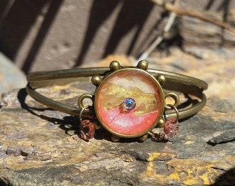Peach Drizzle Cuff Bracelet / one of a kind / gift idea