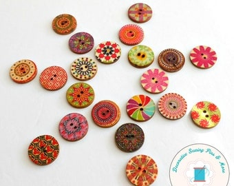 Floral buttons - Flower buttons - Buttons - Wood buttons - Buttons for Sewing - Quilting buttons - Scrapbooking buttons - Cherry Chick