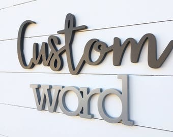 """Up to 38"""" custom word cutout, wooden letters sign, last name sign, wood sign, word cutout sign, custom sign, family name sign"""