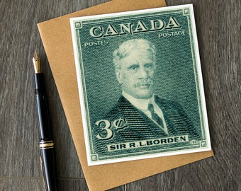 Canadian history, teacher retirement cards, vintage Canadiana, Robert Borden, Canada history christmas cards, canadian birthday cards