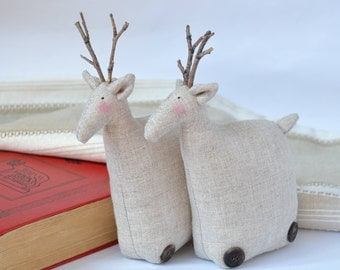 Scandinavian Tilda Deer-Natural Linen Deer- Tilda Deer - Christmas Home Decoration - Soft Toy Deer- Solf Sculpture - Handmade Stuffed Deer