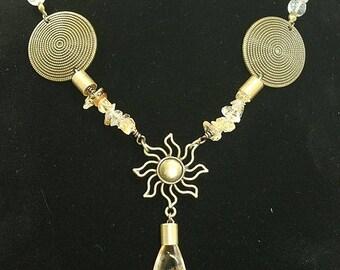 Summer necklace! Citrine, bronze antique