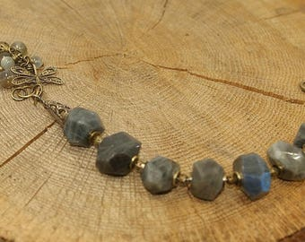Labradorite, pearls, antique brass Dragonfly bracelet