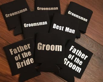 Groom / Groomsman / Best Man Can Coolers - Multiple colors available  - Customized Option -  Bachelor
