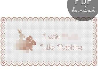 Like Rabbits Cross Stitch Pattern, Valentine's Day, Anniversary, Birthday, Gift, DIY
