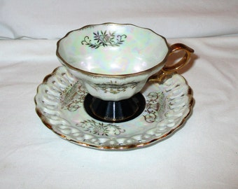 Vintage Enesco Reticulated Footed Cup & Saucer Set W/Mother Of Pearl Tones