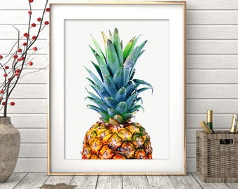 Pineapple Print, Tropical Printable Art, Pineapple Wall Art, Pineapple Wall Print, Wall Decor, Pineapple Poster, Prints, Instant Download