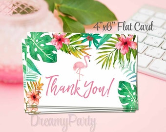 Tropical Flamingo Thank You Card, Flat Thank You Note, Tropical Watercolor Thank you card,Flamingo Thank you note, Digital File.