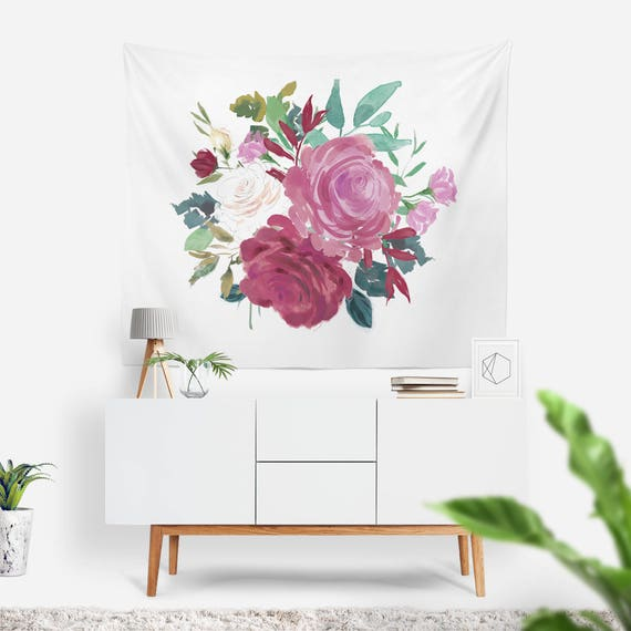 Bouquet Wall Tapestry   Boho Tapestries   Flower Wall Art   Roses Tapestry   Floral Dorm Decor   Gift Ideas for Her   Cute Apartment Decor
