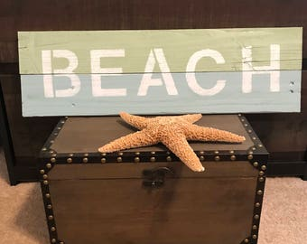 Handmade Wooden Beach Sign