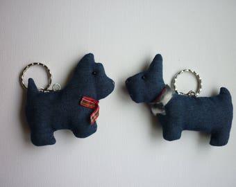 Handmade keychain Dog Vintage Sewn Keychain