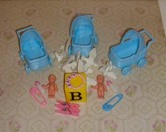 Vintage Miniature Baby Carriage Baby Bottles Baby Shower Decorations Supplies