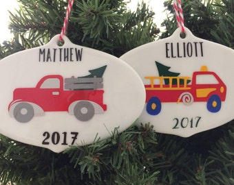 Truck Christmas Ornament, Firetruck, Personalized Kid BOY Ornament, Child Keepsake Ornament Customized, Ceramic Vinyl Tree, Race car