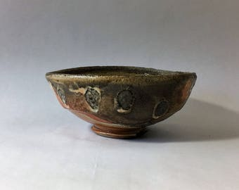 Wood fired matcha chawan, Japanese teabowl, woodfired with shino and natural ash glazes. Tea ceremony, Japan.