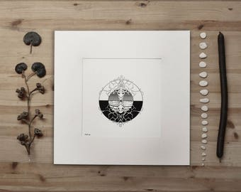 My Deer Totem - B/W Signed & Numbered Silk Print