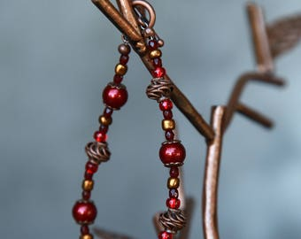 cinnamon red glass and copper swirls
