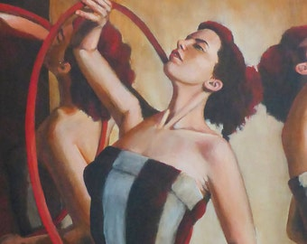 sienna tinted memories - large acrylic painting  of circus performers with hoops by Anita Dewitt - portrait and figurative fine artist
