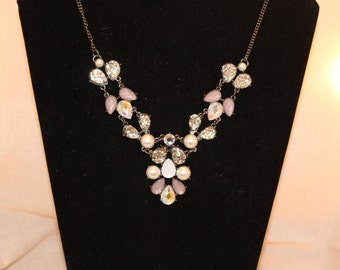 Purple, Silver and Black Statement Necklace