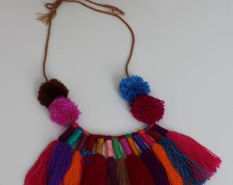 Pom pom Necklace/Tassel Necklace/Mexican Necklace