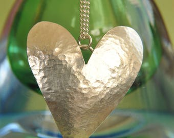 Large hammered heart necklace