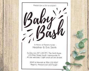 Baby Bash Baby Shower Invitation | 5x7 Digital | Pink