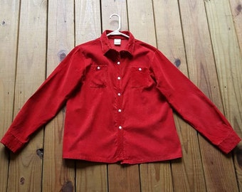 JCPenney Fashions vintage 80's L XL size 16 red corduroy button long sleeve shirt with collar
