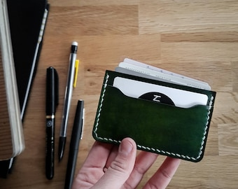 Leather cardholder, GREEN,  Card wallet, Slim leather wallet, Slim wallet