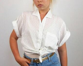 Vintage 90's Minimalist Sheer Cotton Lace Button-up Shirt / Blouse / Top | Size S-M