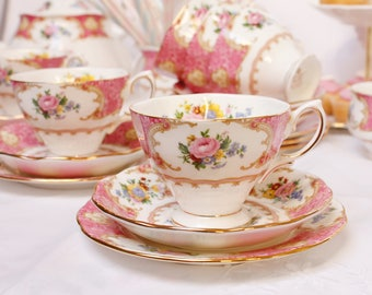"""Royal Albert """"Lady Carlyle"""": English bone china tea cup, saucer and plate, by the world famous """"Royal Albert"""" a pretty pink tea set."""