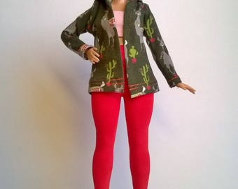 Curvy fashion doll jacket with hood in green with lamas and cacti