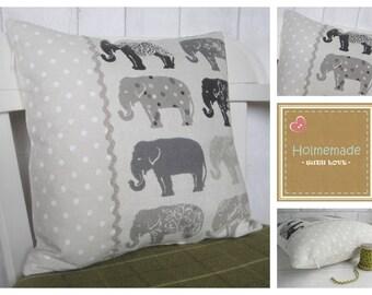 Grey Elephant Pillow, Grey Elephant Cushion, Grey Nursery Decor, Personalised Elephant Cushion, Grey Throw Pillow, Elephant Lover Gift