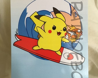 Pokemon Fan Art: Surfing Pikachu Postcard Print