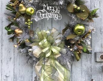 Vintage Silver Christmas Wreath with Metallic Fruit