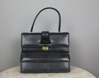 50s SAKS FIFTH AVE black leather kelly bag
