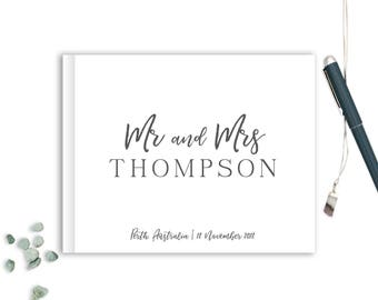 Wedding Guest Book landscape horizontal Guest Books Custom Guestbook Modern Wedding Script Wedding - White and Charcoal