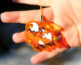 Autumn the Red Fox - UV Reactive Acrylic Charm 1.5 Furry Keychain Cellphone Strap
